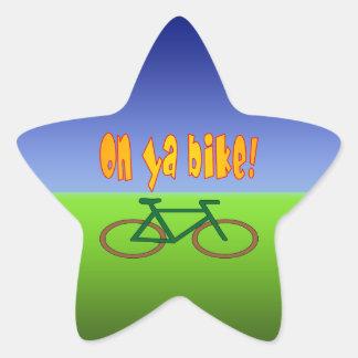 ¡En la bici de Ya! El ciclo va las emisiones cero Pegatinas Forma De Estrellaes Personalizadas