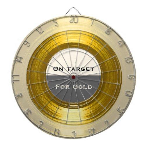 En la blanco para el oro - un Dartboard de registr Tablero Dardos