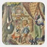 En la cabaña de la bruja pegatina cuadrada