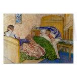 En la cama 1908 de la momia tarjeta de felicitación
