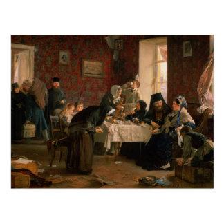 En la casa de huéspedes del monasterio tarjeta postal