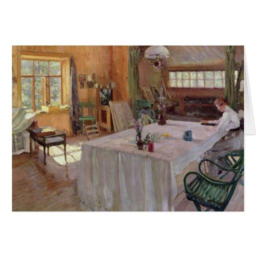 En la casa del artista Konstantin Korovin Felicitacion