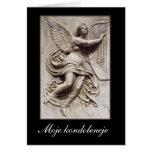 En la condolencia - polaco - ángel con la arpa felicitaciones