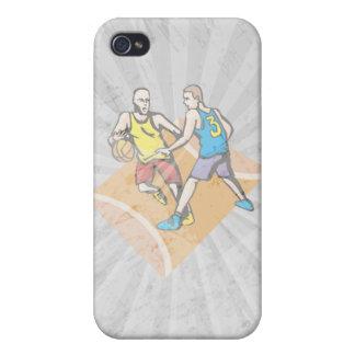 en la corte que bloquea diseño del baloncesto iPhone 4 funda