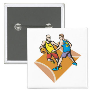 en la corte que bloquea diseño del baloncesto pin
