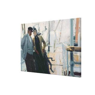 En la cubierta (aceite en lona) lienzo envuelto para galerias