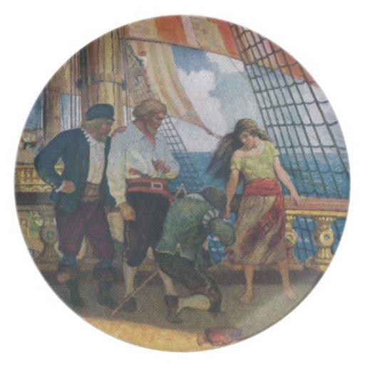 En la cubierta de un Galleon debajo de una vela Plato
