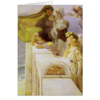 En la cuna del Aphrodite de sir Lorenzo Alma Tadem Tarjetón