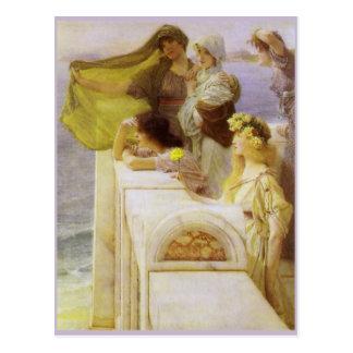 En la cuna del Aphrodite de sir Lorenzo Alma Tadem Tarjeta Postal