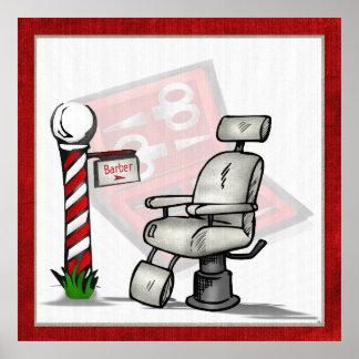 En la decoración de la peluquería de caballeros póster
