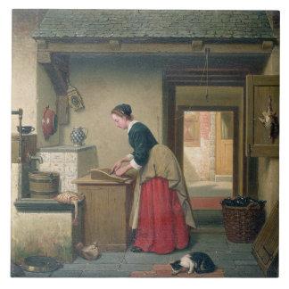 En la despensa, 1868 (aceite en el panel) azulejo cuadrado grande