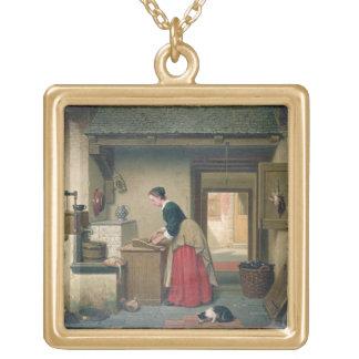 En la despensa, 1868 (aceite en el panel) colgante cuadrado