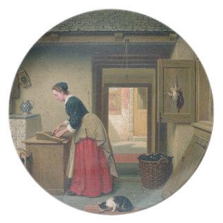 En la despensa, 1868 (aceite en el panel) platos para fiestas