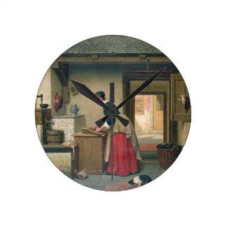 En la despensa, 1868 (aceite en el panel) reloj redondo mediano