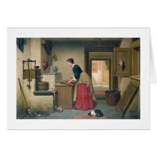 En la despensa, 1868 (aceite en el panel) tarjeta de felicitación