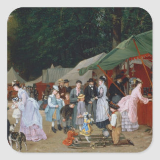 En la feria, 1877 pegatina cuadrada