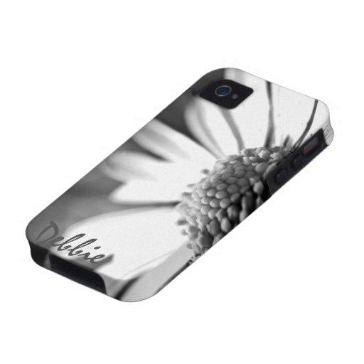 En la floración l fotografía de B&W Foral iPhone 4 Fundas