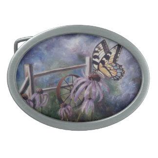 En la hebilla del cinturón de la mariposa del jard hebillas de cinturon ovales