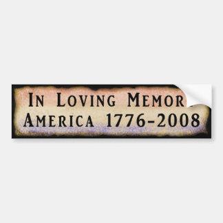 En la memoria cariñosa América 1776 - 2008 Pegatina De Parachoque