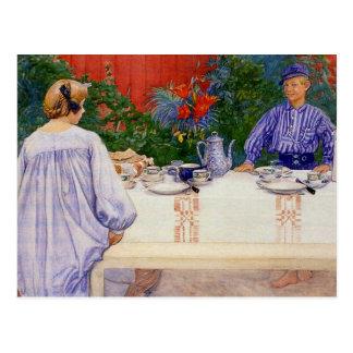 En la mesa de desayuno 1910 postal