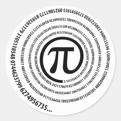 En la muestra del pi, versión espiral pegatinas redondas