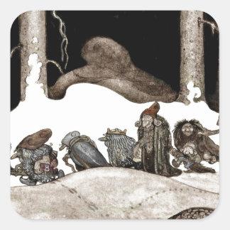 En la noche de navidad Tomte-Nisse Pegatina Cuadrada