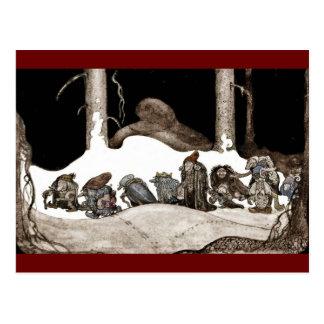 En la noche de navidad Tomte-Nisse Tarjeta Postal