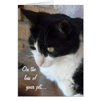 En la pérdida de su mascota-Gato con el poema Tarjeta De Felicitación
