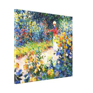 En la pintura de la mujer de Claude Monet del jard Lona Estirada Galerías