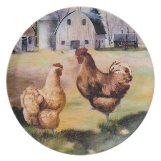 En la placa de la granja platos de comidas