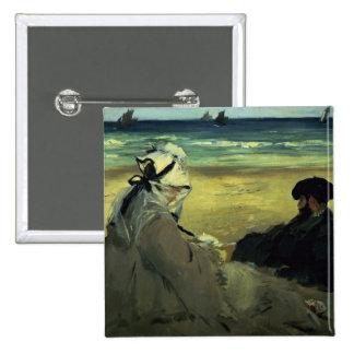 En la playa, 1873 pin cuadrada 5 cm