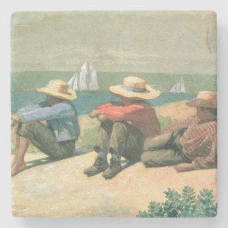 En la playa, 1875 (w/c) posavasos de piedra