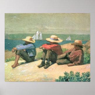 En la playa, 1875 (w/c) póster