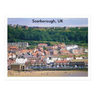 En la playa en Scarborough, Reino Unido Postal