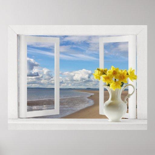 En la playa -- Opinión de ventana abierta con los  Poster