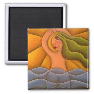 En la playa pintura óleo arte 2 inch square magnet