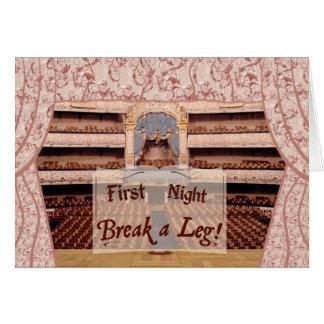 En la primera noche de la etapa, rompa una pierna tarjeta de felicitación