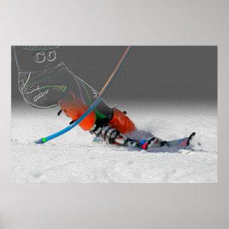 En la puerta - raza del eslalom del esquí de la ni póster