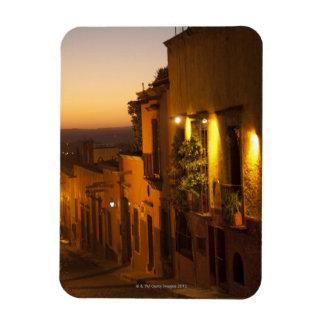En la puesta del sol imán foto rectangular