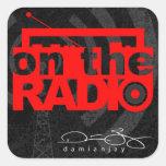 En la radio calcomanías cuadradas