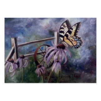 En la tarjeta del arte de la mariposa del jardín tarjetas de visita grandes