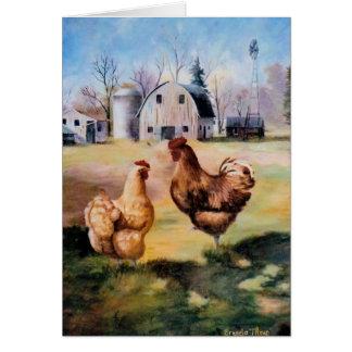 En la tarjeta en blanco de la granja
