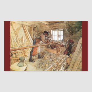 En la tienda del carpintero pegatina rectangular