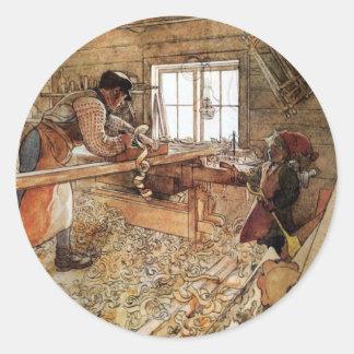 En la tienda del carpintero pegatina redonda
