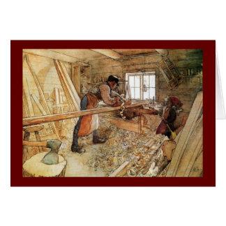 En la tienda del carpintero tarjeta de felicitación