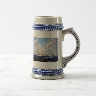 En la vista de los acantilados blancos taza