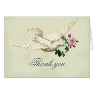 En las alas de una paloma, palidezca la verde tarjeta de felicitación