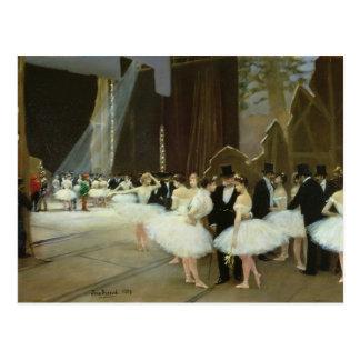 En las alas en el teatro de la ópera, 1889 tarjeta postal