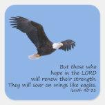 En las alas tenga gusto de los pegatinas de Eagles Calcomania Cuadradas Personalizadas