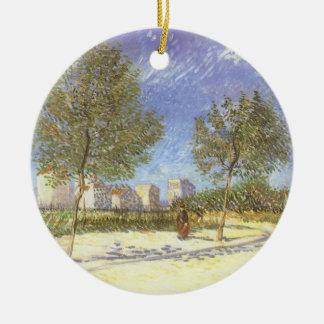 En las cercanías de París de Vincent van Gogh Adorno Navideño Redondo De Cerámica